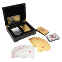Hot Sell 54 Gold Silver Playing Cards Black Poker Wooden Box Set Best Gift For Card