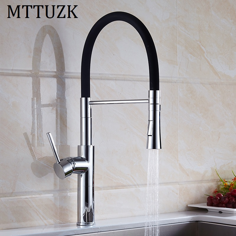 MTTUZK Black andChrome Finis Kitchen Sink Faucet Deck Mount Pull Down Dual Sprayer Nozzle Hot Cold Mixer Water Tap Coppoer Crane swanstone dual mount composite 33x22x10 1 hole single bowl kitchen sink in tahiti ivory tahiti ivory