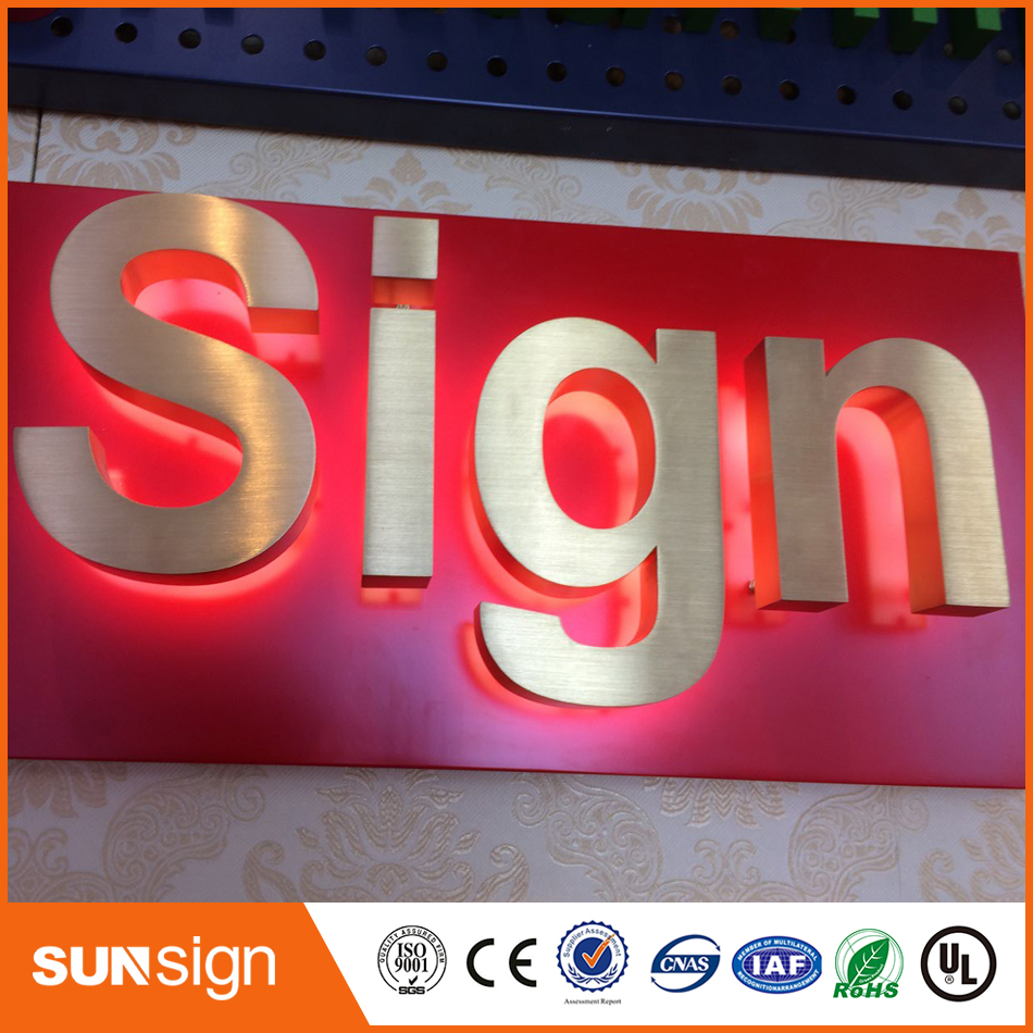 Golden Color Brushed Faces Mirror Sides Polished Stainless Steel Backlit Letters And Signs