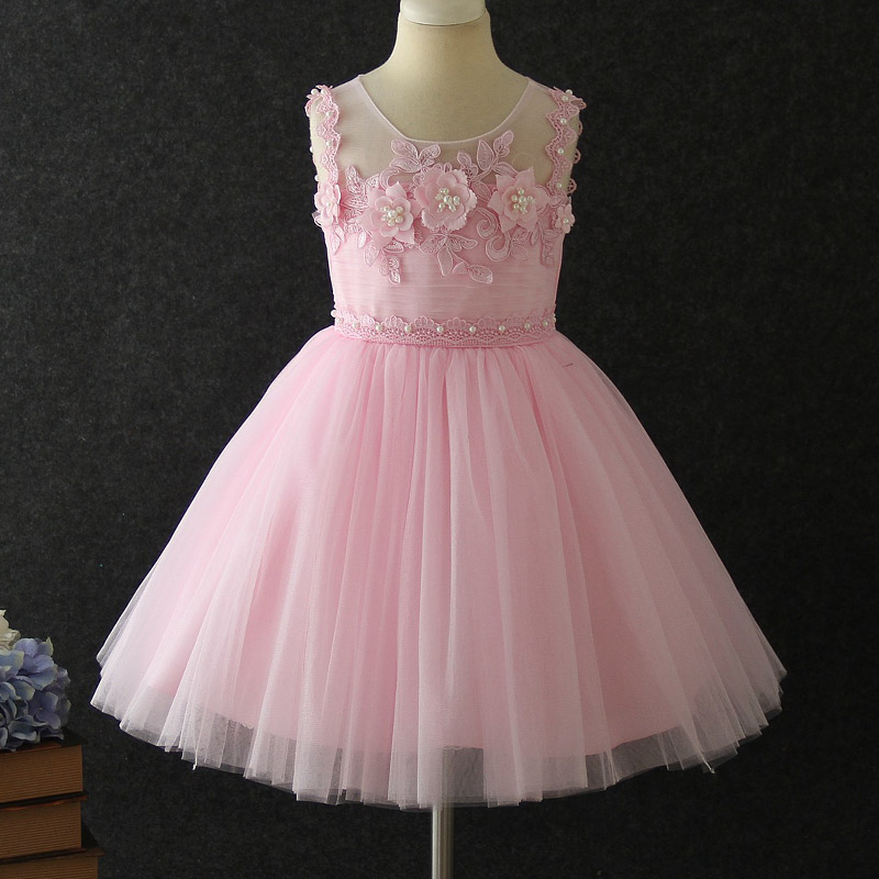 New Girl's Birthday Party Banquet Pompon Party Dress Girl's First Wedding Party Embroidery Dress Girl's Campus Performance Dress