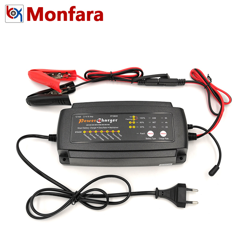 Smart Full Automatic 7 Stages 12V 2A 4A 8A Battery Charger For Car Motorcycle Lead-Acid GEL WET AGM Batterie 12 Volt 2 A 4 AMP 8