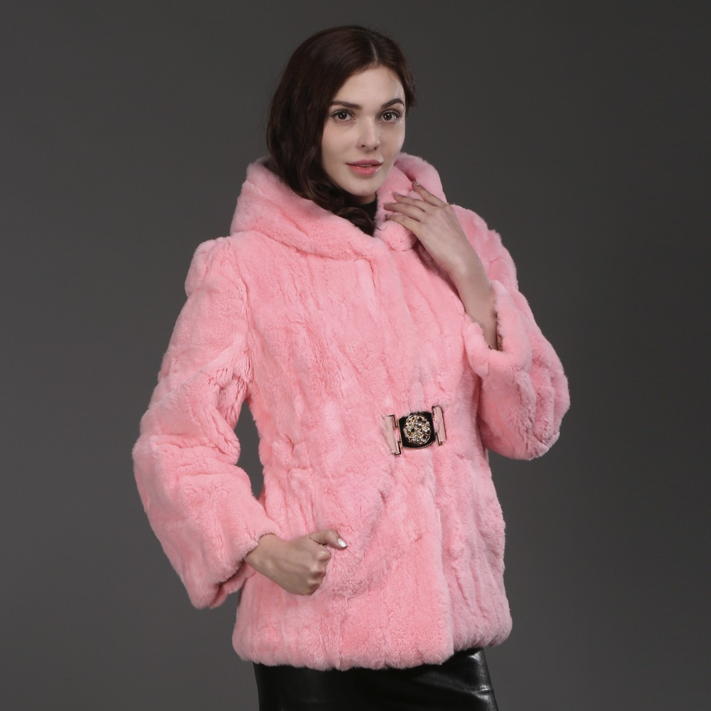 Lapin Capuche Mode À Réel Gros Détail Chaud Au Fourrure 100 purple Manteau De Naturel 2017 Veste Rex Pardessus Épais Pink vSztOp