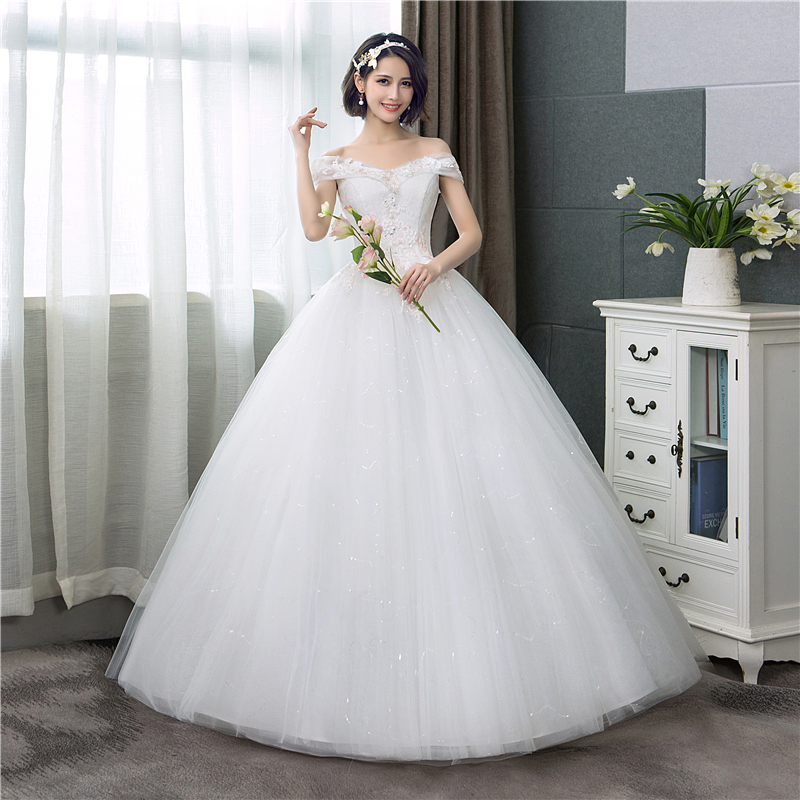 bc5b4982e8 Boat neck Lace Wedding Dress 2018 New Fashion Pink Floral Print Princess  Dream Bride off the shoulder Korean vestido de noiva C
