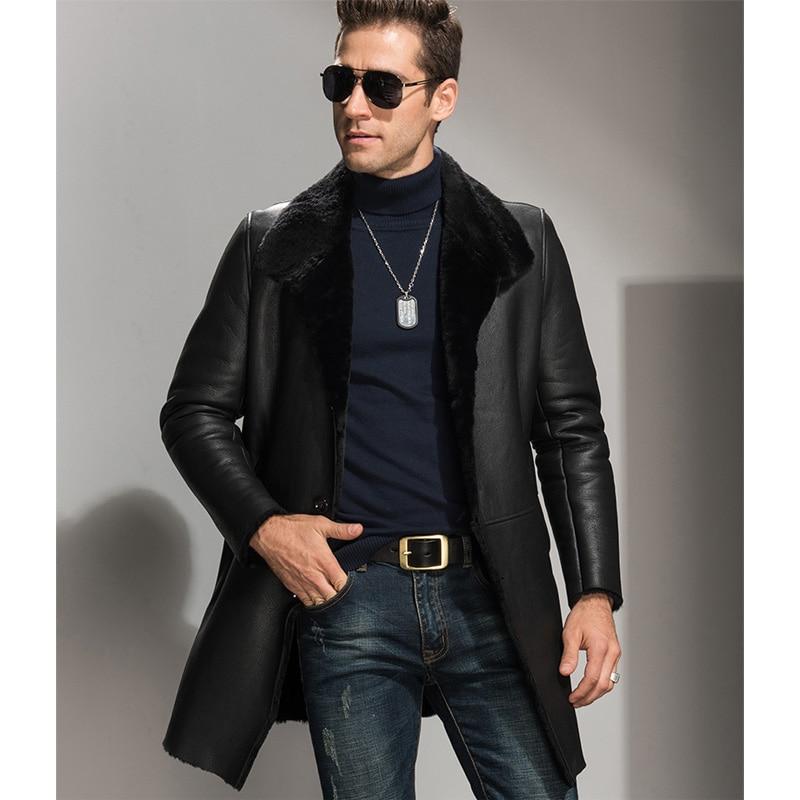 Black X Long Men's Shearling Jacket Men's Fur Coats And Outfit ...