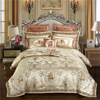 Luxury Wedding satin jacquard bedding set queen/king size bed set gold 4/6/9pcs duvet cover sets thick cotton bedspread set