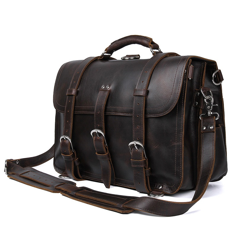 Escritório dos homens Maleta de Couro de Vaca Durável Grosso Estados Unidos Projeto Grande Viagem 17 Laptop Shoulder Crossbody Tote Bolsas Sacos - 2