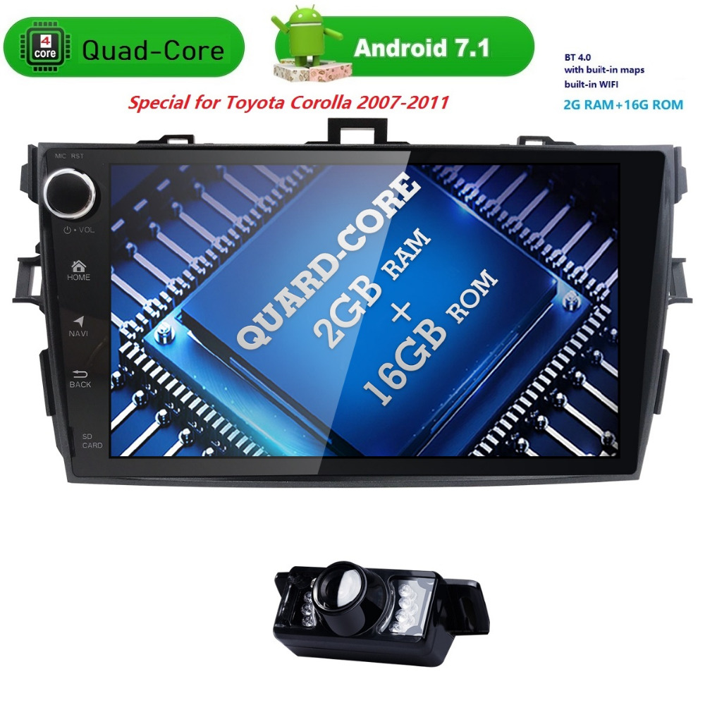 92 din car radio gps Android 7.1 Car NO DVD Multimedia player For Toyota corolla 2007 2008 2009 2010 2011 Stereo head unit 2GB цена