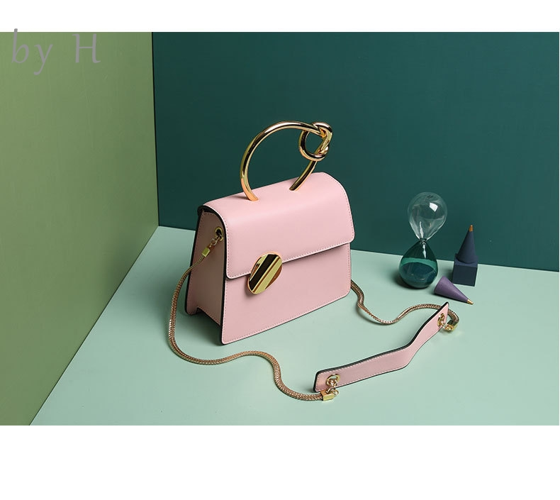 by H new arrive 2019 cow leather luxury designers metal knot mini top handle bag womens totes day clutch shoulder bag pink bags