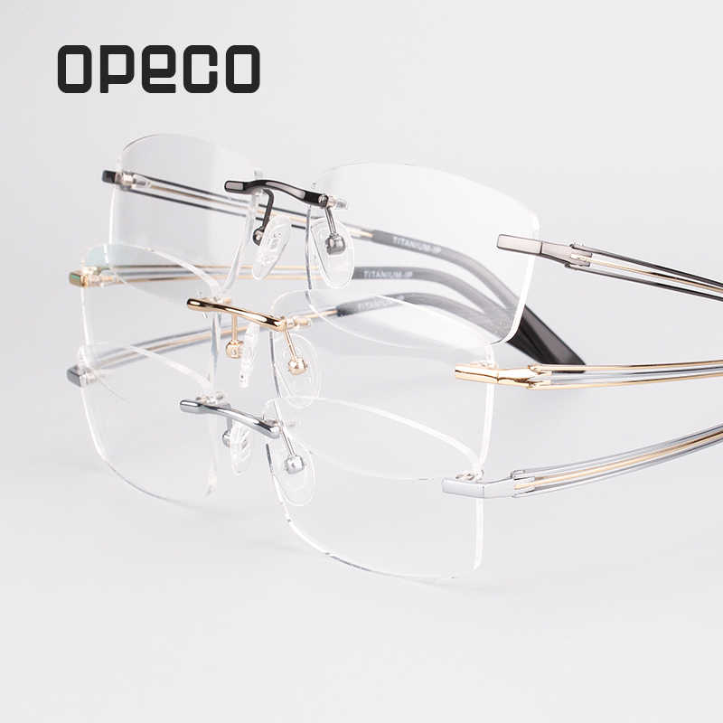 ab4e761bbe8e Opeco Pure Titanium Eyewear Rimless Men's Glasses Frame male Myopia Optical  Prescription Eyeglasses computer Spectacles #