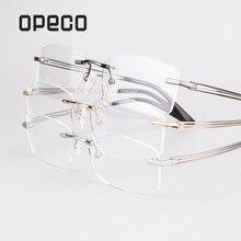 efa6dd65e8137b Opeco Pure Titanium Brillen Randloze mannen Glazen Frame mannelijke  Bijziendheid Optische Recept Bril computer Bril  9123