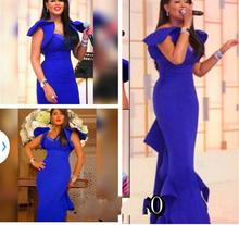 2015 Fashion Saudi Arabia Royal Blue Mermaid Evening Dresses Sweetheart Neck Ruffle Cap Sleeve Eelegant Prom Dresses