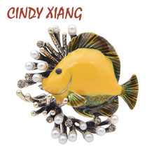 CINDY XIANG Creative Pearl Fish Brooches For Women Cute Party Casual Pins Jewelry Coat Dress Shirt Accessories New Arrival 2018(China)