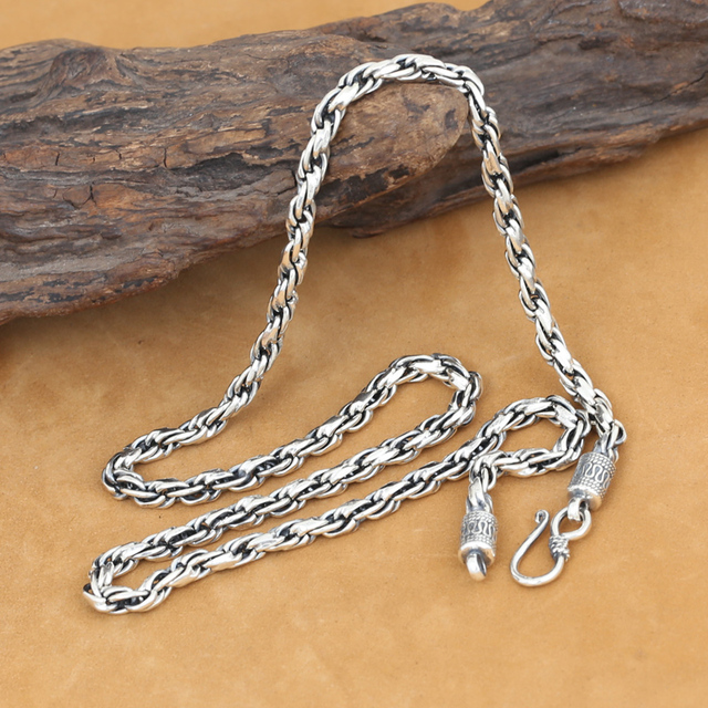 4MM Real Pure Silver Necklace 925 Silver Thailand Silver Necklace Designer Vintage Silver Neckace for Pendant