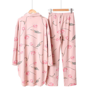 Image 4 - 2019 Spring And Summer Sleepwear Ladies Pajama Set Loose Large Size Floral Printed Long Sleeve+Pants Women 2pcs Comfort Homewear