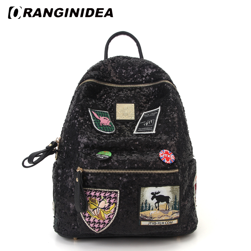 Sequin Badge Backpack Women Preppy Style School Bag for Teenager Girls Lady Fashion High Quality Bagpack mochila feminina 2016 korean style fashion kpop black canvas bigbang fans bagpack g dragon punk rock backpack school bag for teenager girls xj366