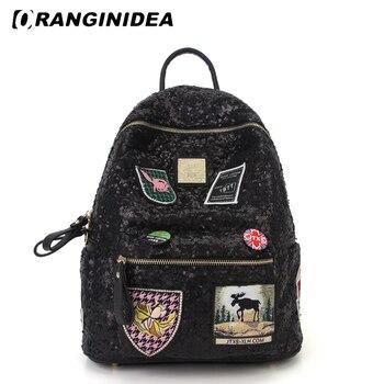 Sequin Badge Backpack Women Preppy Style School Bag for Teenager Girls Lady Fashion High Quality Bagpack mochila feminina