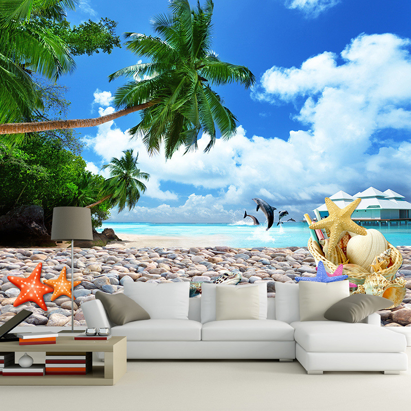 Online buy wholesale 3d beach wallpaper from china 3d for Beach mural wallpaper