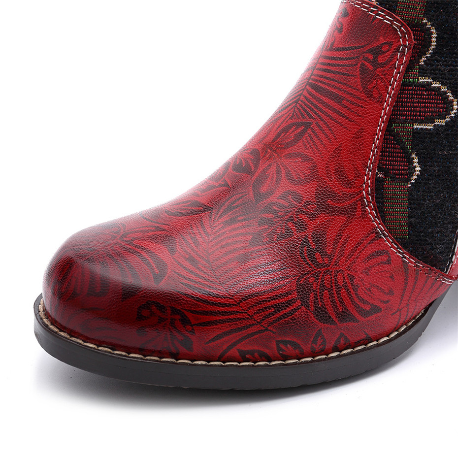 Fashion Patchwork Western Cowboy Boots Women Shoes Bohemian Genuine Leather Shoes Woman Vintage Side Zip Knee High Riding Boots (4)