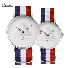 2016 Enmex creative couple wristwatch Nordic design Separate second hand 3D scale simple fashion Canvas lovers