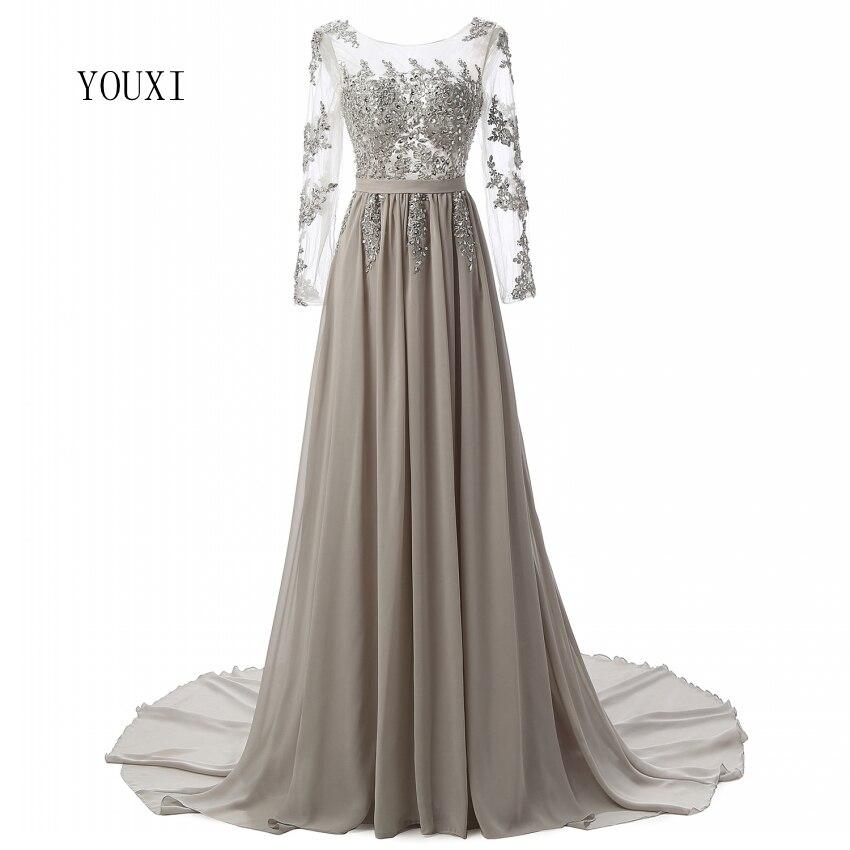 Manches longues perlées robes De soirée 2018 Sexy dos nu mousseline De soie Vestidos De Festa Robe De soirée Robe De soirée robes formelles