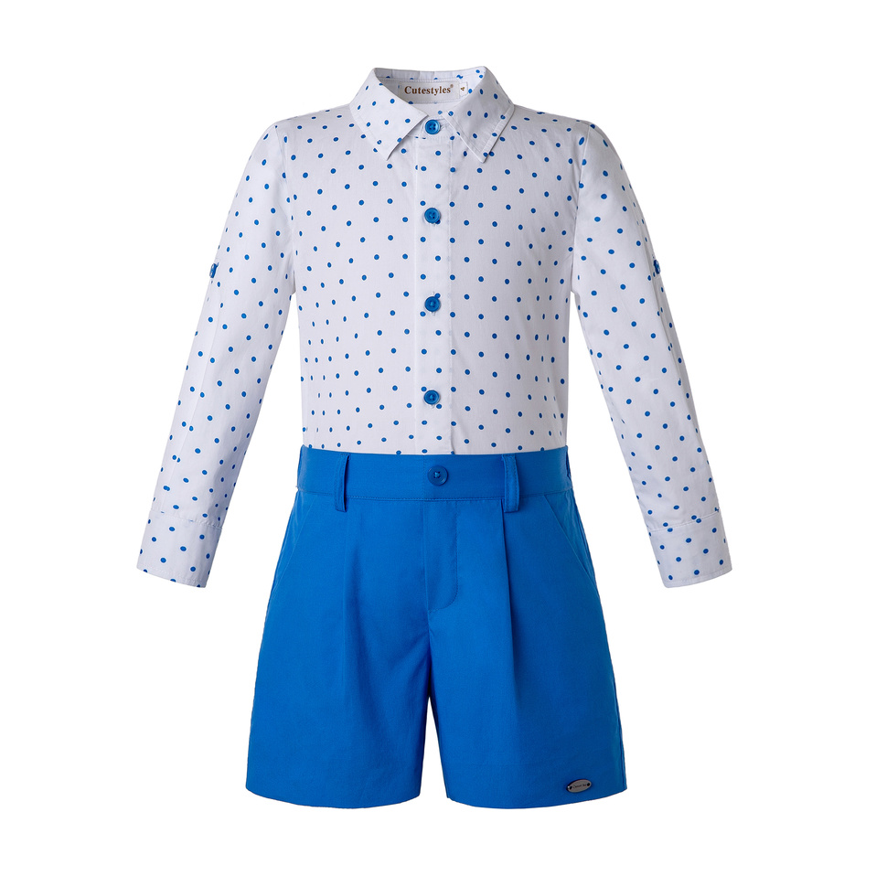 Pettigirl Kids Clothing Set for Boys Blue Dots Shirts and Boys Shorts Children Wholesale Clothes B
