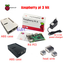 Raspberry pi 3 + Raspberry pi 3 ABS Cas Boîte + 5V2. 5A chargeur jack Framboise pi 3 B + 3 pcs. Radiateur en aluminium