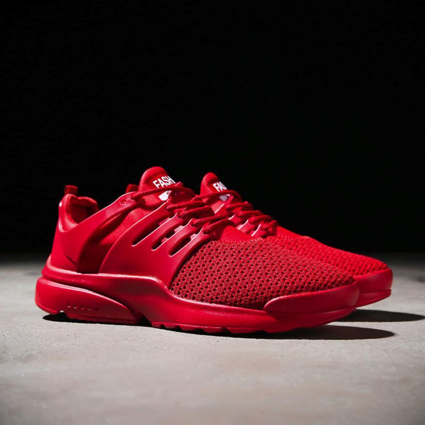 Mode À Hommes Mokingtop rouge Sneakers blanc Noir Espadrilles De Chaussures Casual Lacets Maille Respirant Beathable wUCpqCZ