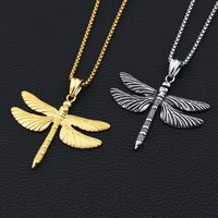 2017 New Hiphop Goofan Dragonfly Pendant Necklace Stainless Steel Fashion Jewelry For Men Women Gift STN862