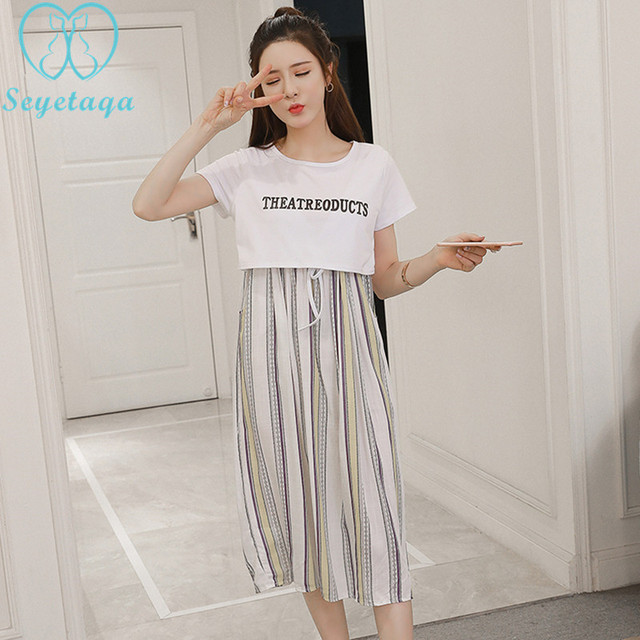 3a093a38e3c 9005  Summer Korean Fashion Striped Cotton Maternity Nursing Dress Clothes  for Pregnant Women Pregnancy Breast Feeding Clothing