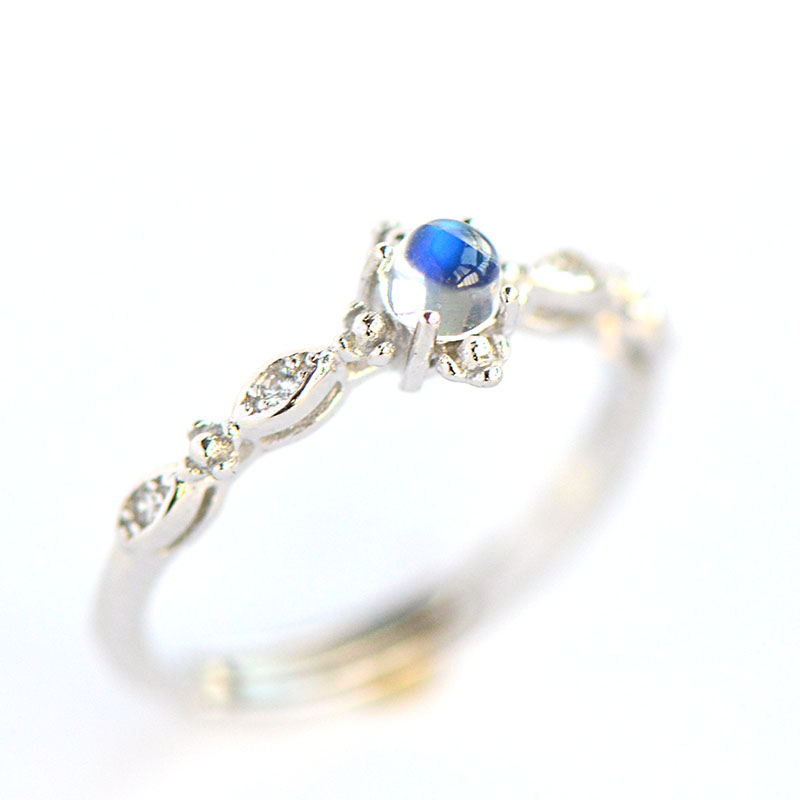 L&P Elegant Natural Moonstone Finger Rings Pure 925 Sterling Silver Ring For Women Fine Jewelry Wholesale