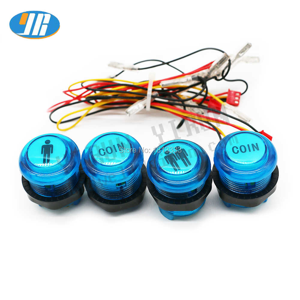 1* 1P & 2P / 2* Coin Button 28 mm Crystal glowing 5V LED Push Buttons With 3Pin Cable Arcade Cabnet Zero delay Button