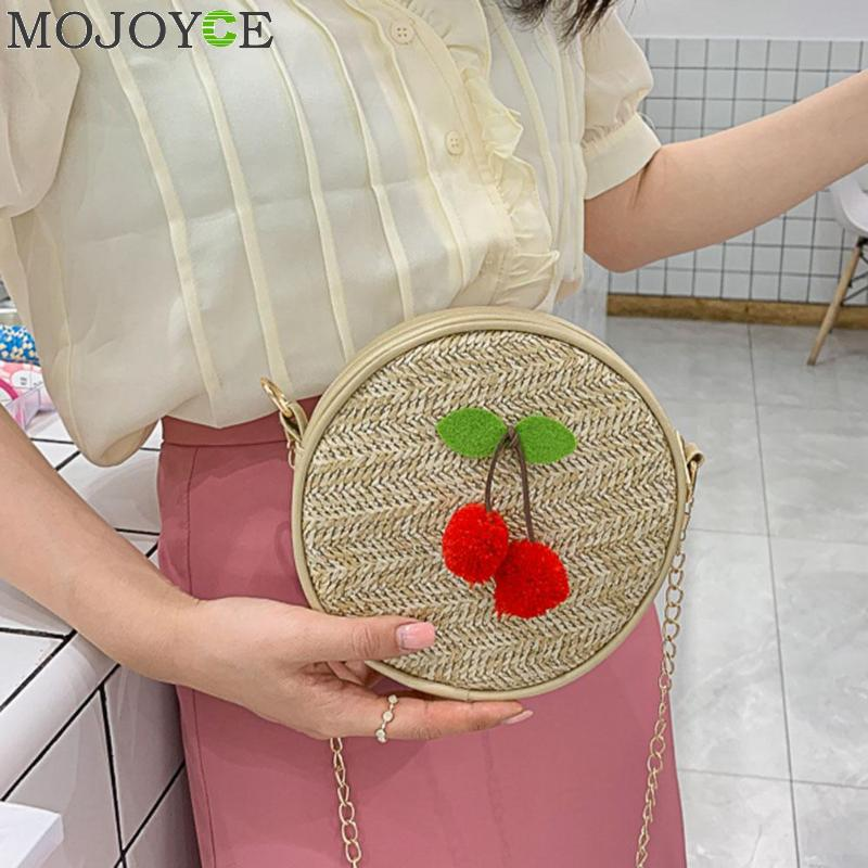 2019 Round Straw Bags Cherry Women Summer Rattan Bag Handmade Woven Beach Cross Body Bag Circle Bohemia Handbag2019 Round Straw Bags Cherry Women Summer Rattan Bag Handmade Woven Beach Cross Body Bag Circle Bohemia Handbag