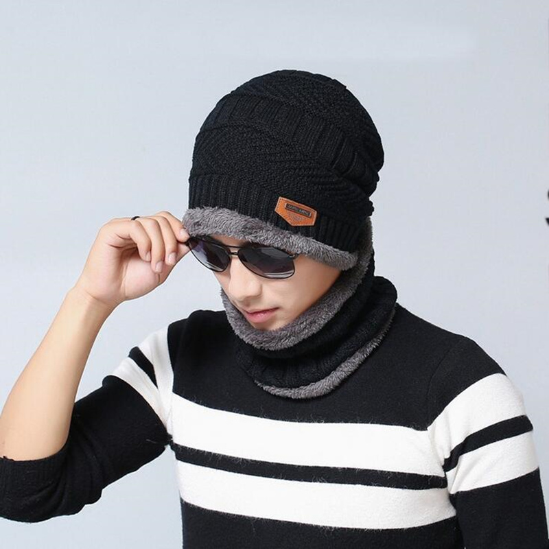 Parent-child cap 2pcs ski cap and scarf cold warm leather winter hat for women men Knitted hat Bonnet Warm Cap   Skullies     Beanies