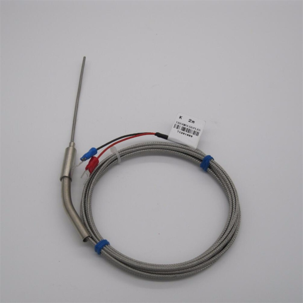 High Quality Stainless Steel Probe Temperature Controller Sensor K Type Thermocouple Wiring Tube With Wire Cable 2x50x2m Diameter 2mm In Instruments