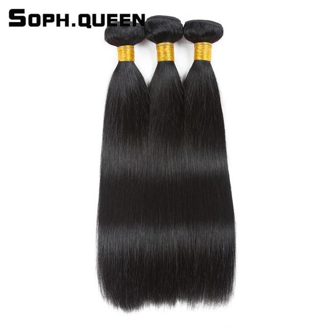 Soph Queen Natural Black Remy Hair Brazilian Straight Wave 3 Bundles