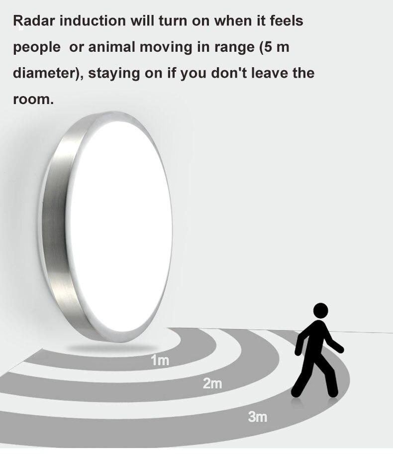 Image 3 - Движения Сенсор/радар человеческого индукции акриловые светодиодные принадлежности для потолочного светильника ресторан для ванной комнаты, проход Лестницы балконные потолочные светильники-in Потолочные лампы from Лампы и освещение