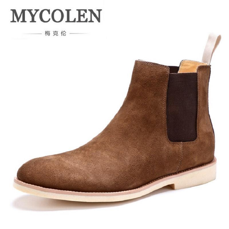 MYCOLEN Winter Men Boots New Handmade High Quality Men Shoes Lace-Up Casual Ankle Boots Designer Genuine Leather Dress Boots top new men boots fashion casual high shoes cowboy style high quality lace up classic leather ankle brand design season winter