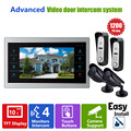 "Homefong  10.1"" TFT Video Intercom Door Phone Camera system Access Control  Record  1V4(2 HD Doorbell +2 CCTV Camera +Monitor)"