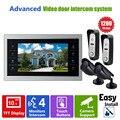 """Ysecu 10.1 """" TFT видео-телефон интерком-телефон двери камеры системы контроля доступа запись 1V4 ( 2 HD дверной звонок + 2 камеры видеонаблюдения + монитор )"""