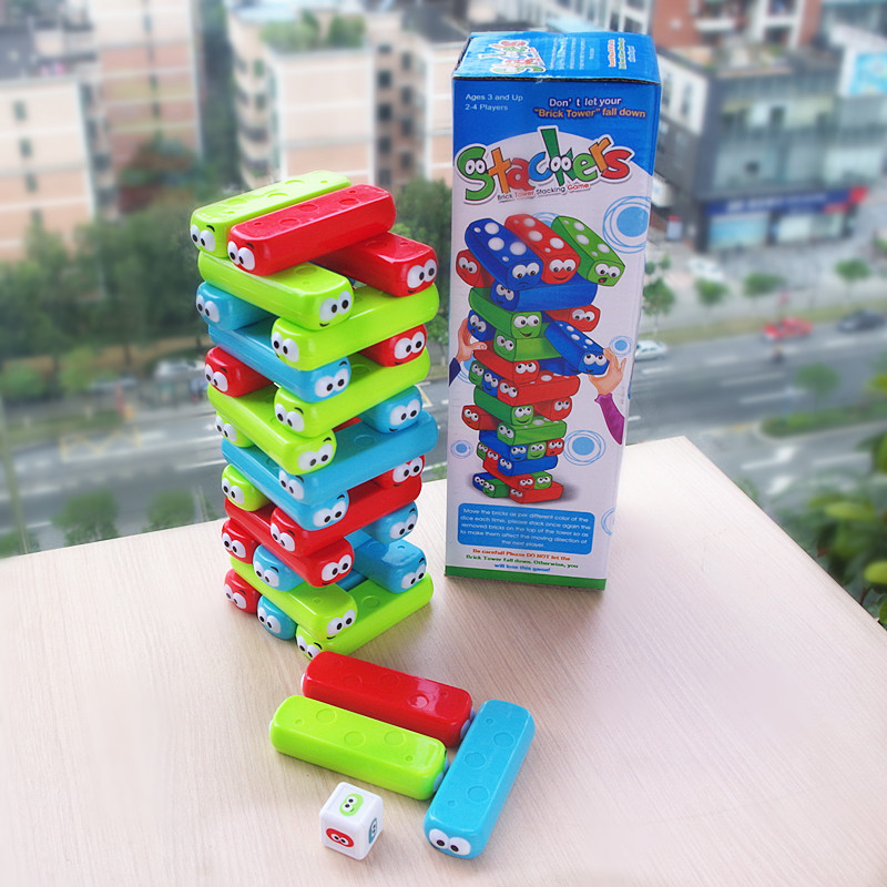 Baby stacking toy cartoon character plastic jenga tower building blocks toy brick tumbling game desktop kid toy family party toy funny falling tumbling monkey parenting family interactive toy
