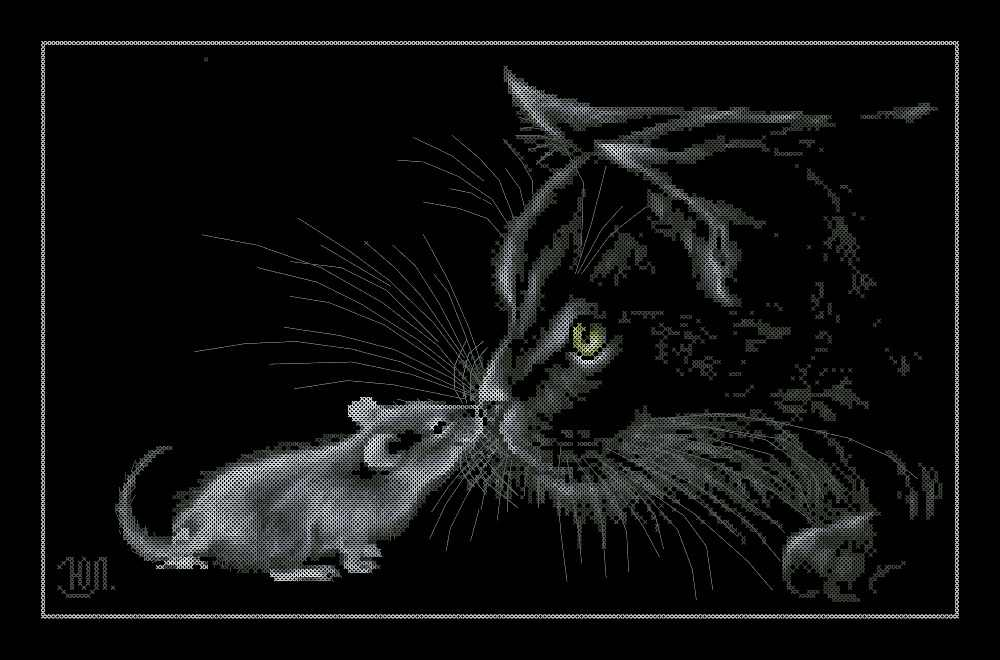 Cat and mouse cross stitch package animal 18ct  14ct 11ct black cloth cotton thread embroidery DIY handmade needlework