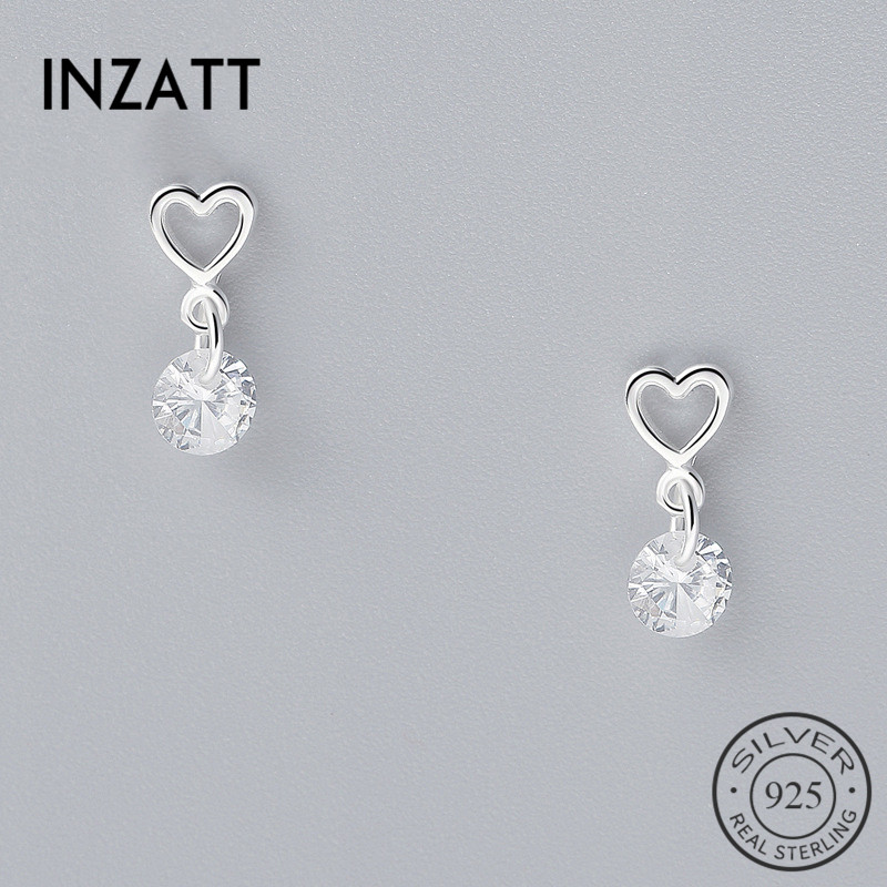 INZATT New Style Real 925 Sterling Silver Crytal Heart Dangle Earrings Romantic Style For Women  Accessories FINE  Jewelry Gifts