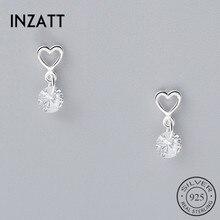 Dangle-Earrings Fine-Jewelry Crytal INZATT Heart Real-925-Sterling-Silver Women-Accessories