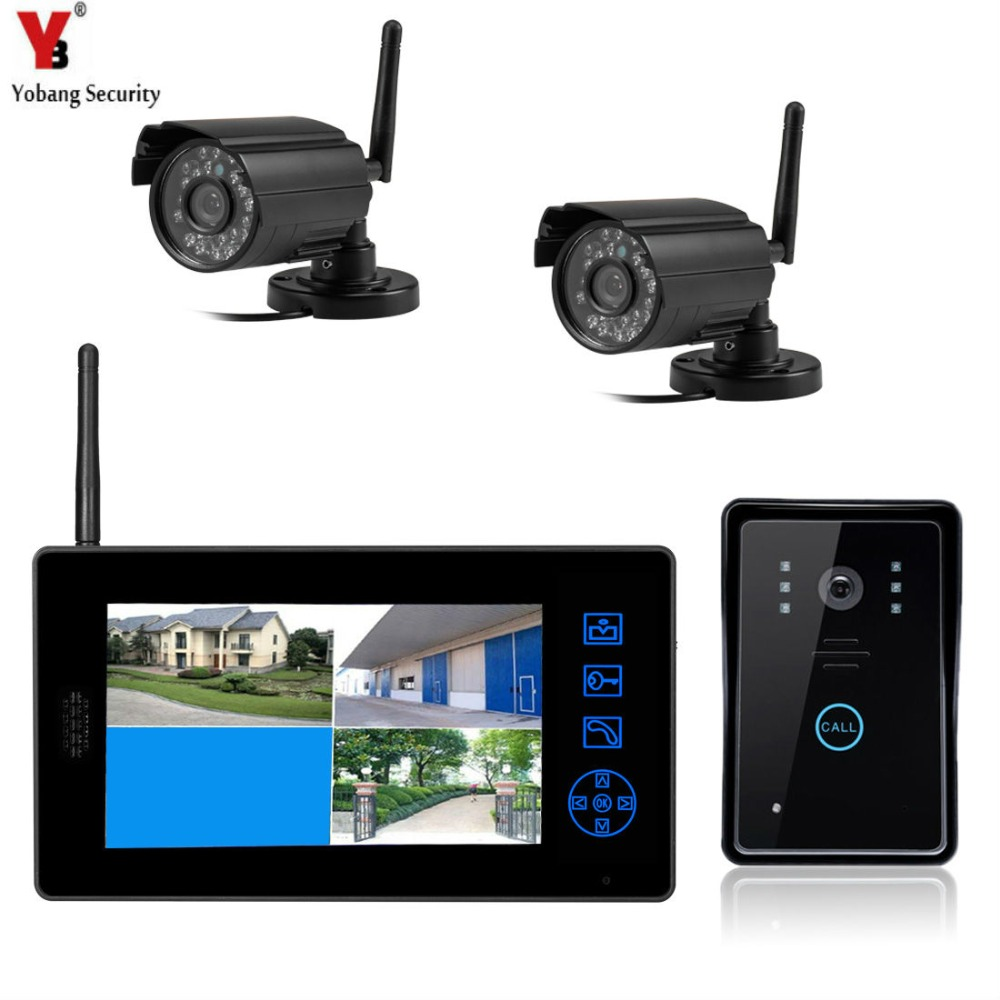 Yobangsecurity 7 tft lcd wireless video door phone for Door entry systems