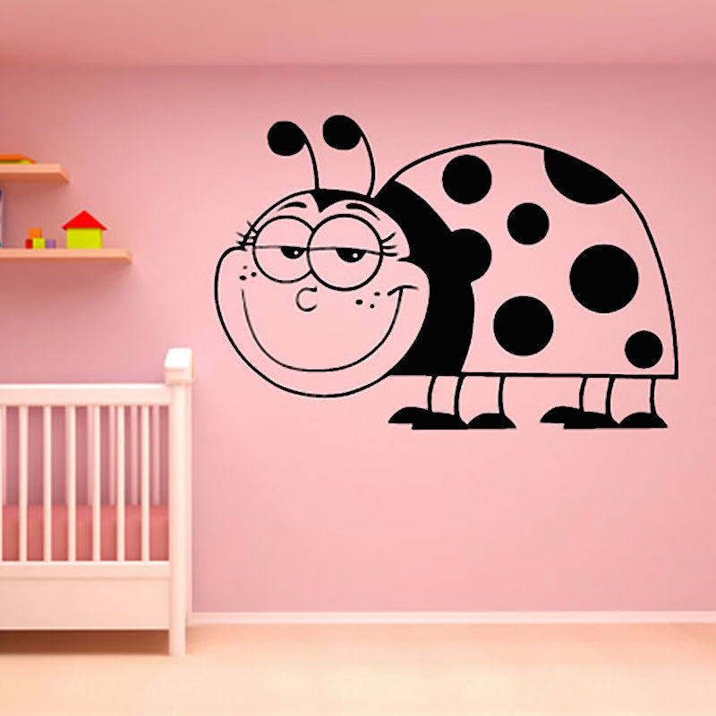 Hollow Out Vinyl Waterproof Large Size Smiling Ladybug Wall Sticker Baby Nursery Bedroom Home Decor