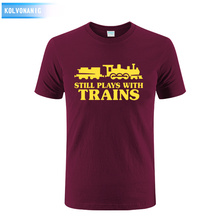 Spring&Summer Style Still Plays With Trains Printed T-Shirt Driver Comedy Gift For Hip Hop T Shirt Men Casual Short Sleeve Tops