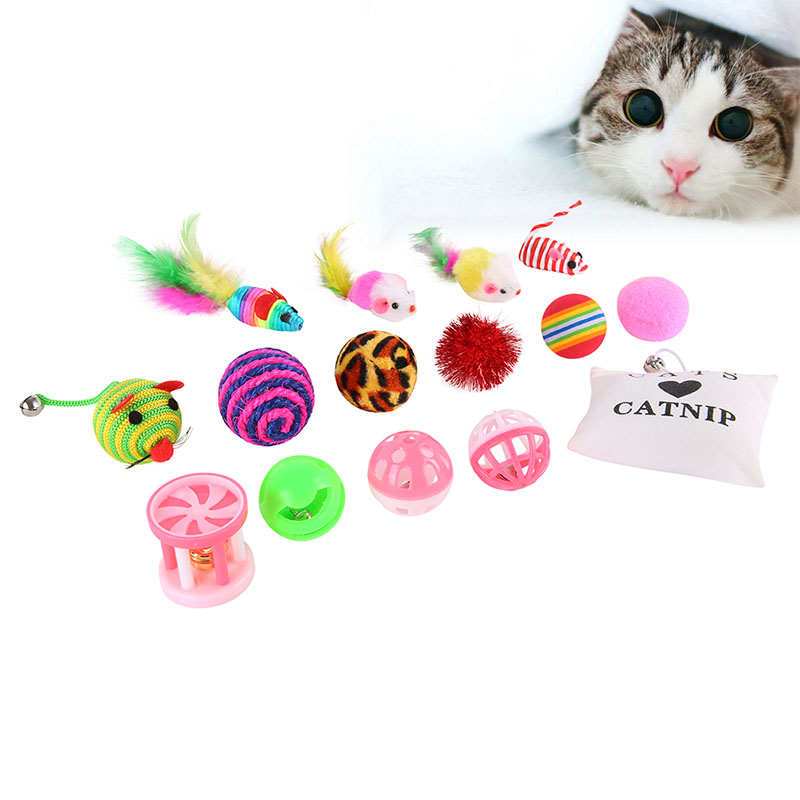 16 Sets Pet Cat Toy Suit Tease Stick Mouse Ball Gift Fashions Talk Cat toys Variety Pack For Kitty