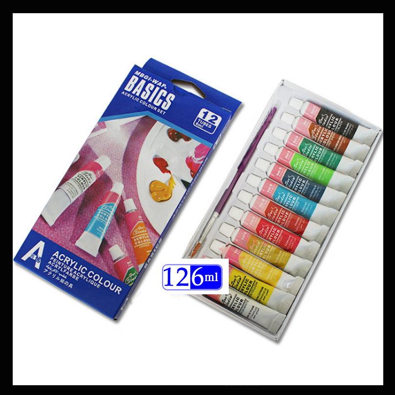 12 Colors 6ml Acrylic Paints Set Paints Wall Textile Spray Paint Fabric Paint Art Supplies With