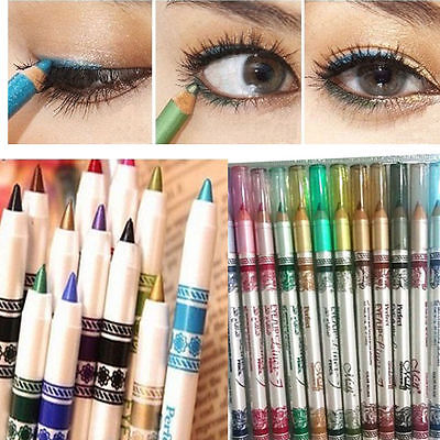 12 Colors Glitter Eyeliner Pencil Pencil Pen Cosmetic ...