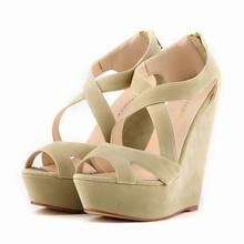 Loslandifen brand New women's pumps high heels sandals shoes women wedge peep toe platforms gladiator cross strap shoe 35-42